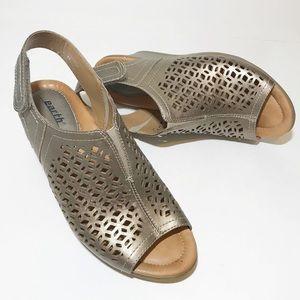 Earth Cascade Leather Peep Toe Wedge Sandals Sz 8